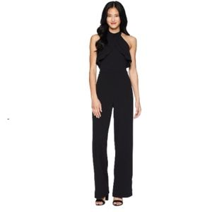 NWT Bebe Black High Neck Ruffle Popover Jumpsuit